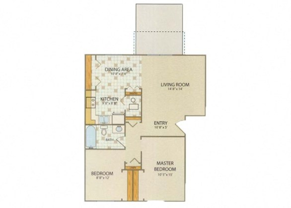 Willow Creek Apartments   Portage  IN   1  2   3 Bedroom Floor Plans Cambridge 2 Bedroom 1 Bathroom Floor Plan at Willow Creek  Portage  Indiana