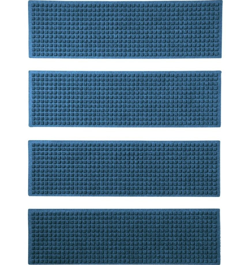 Everyspace Recycled Waterhog Mat Stair Treads Set Of Four | Outdoor Carpet Stair Treads | Stair Runner | Rug | Stair Nosing | Slip Resistant | Flooring