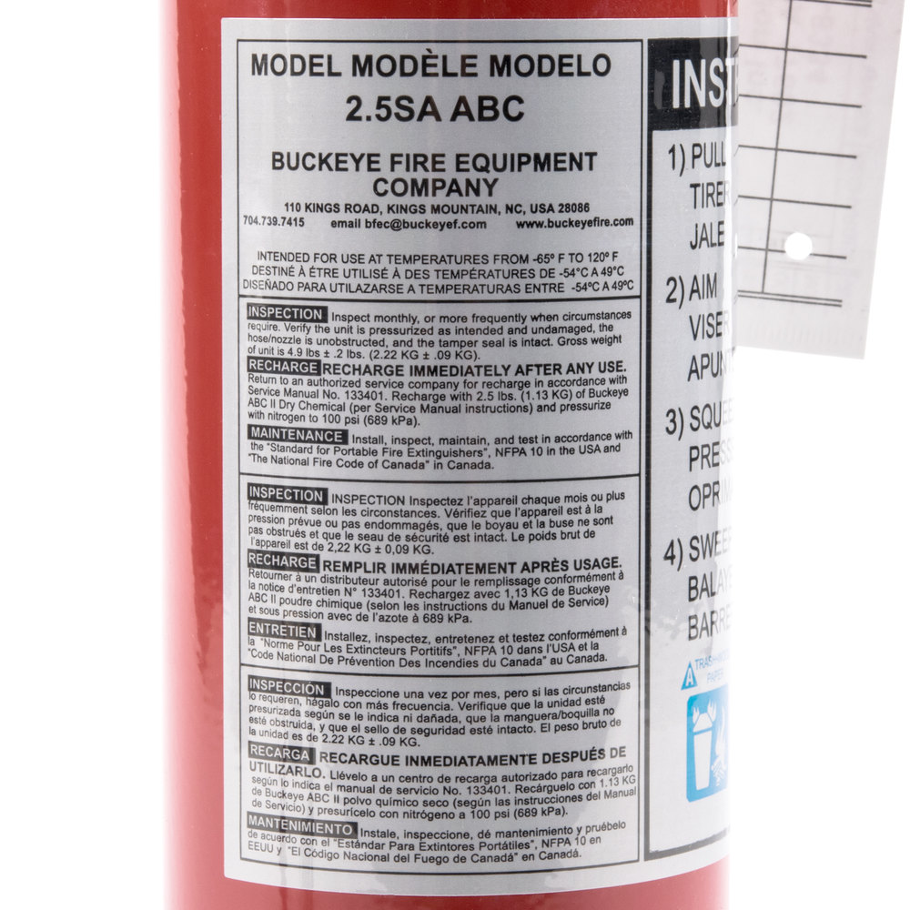 Buckeye 2.5 lb. ABC Fire Extinguisher - Rechargeable with ...