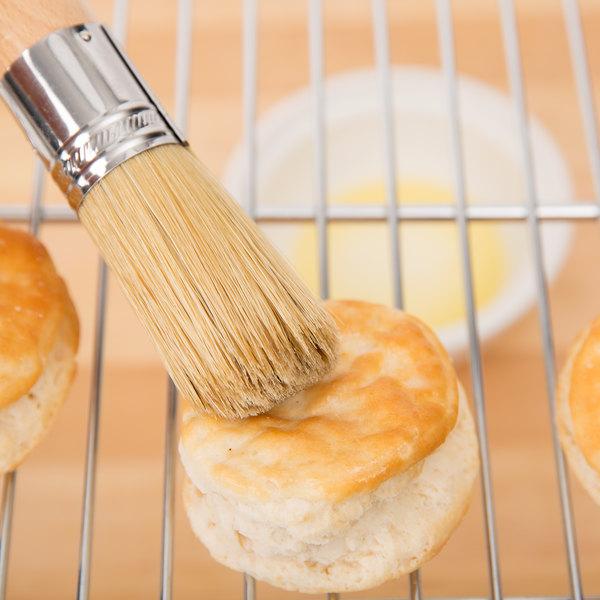 """Ateco 61200 1 1/4"""" Round White Boar Bristle Pastry Brush ..."""