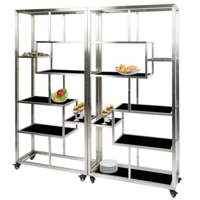 Eastern Tabletop AC1760BK 71  x 14  x 73  Square Stainless Steel     Eastern Tabletop AC1760BK 71  x 14  x 73  Square Stainless Steel Rolling  Buffet Set with Black Acrylic Shelves