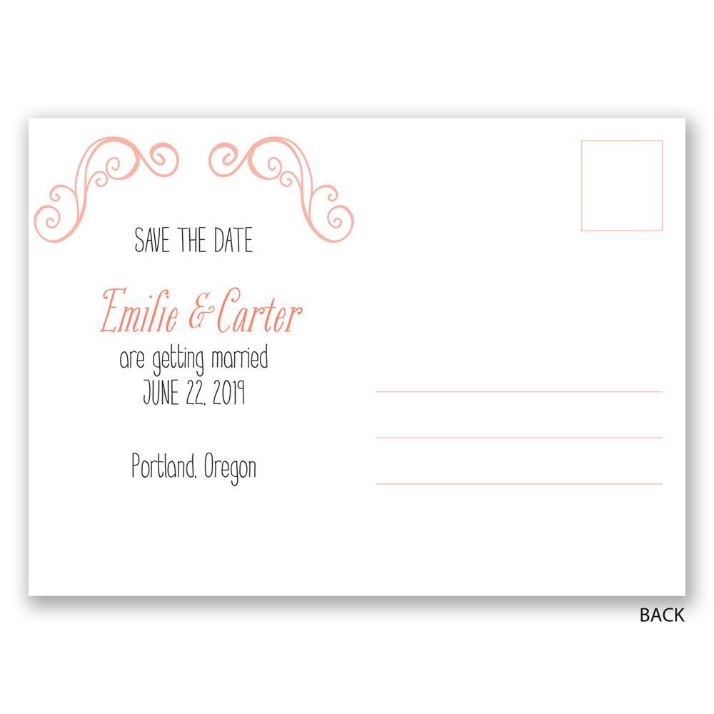 Save Date Postcard Back