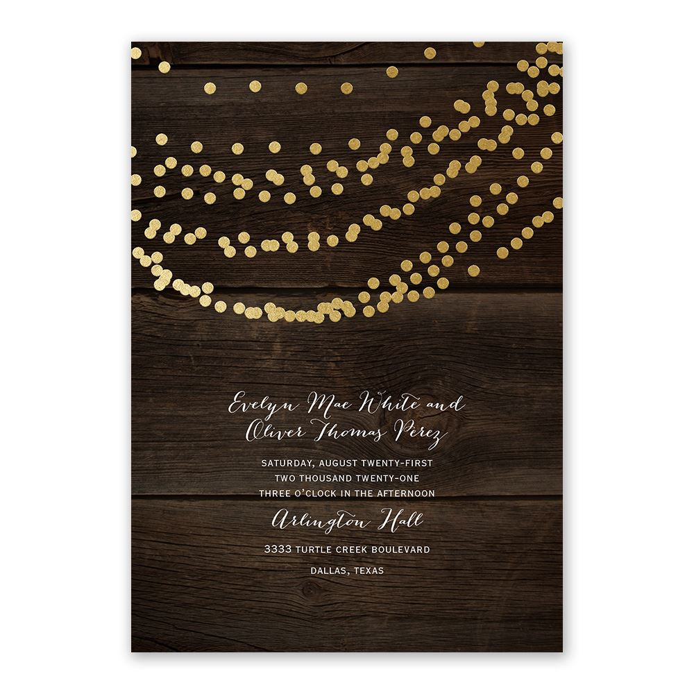 Rustic Gold Wedding Invitations
