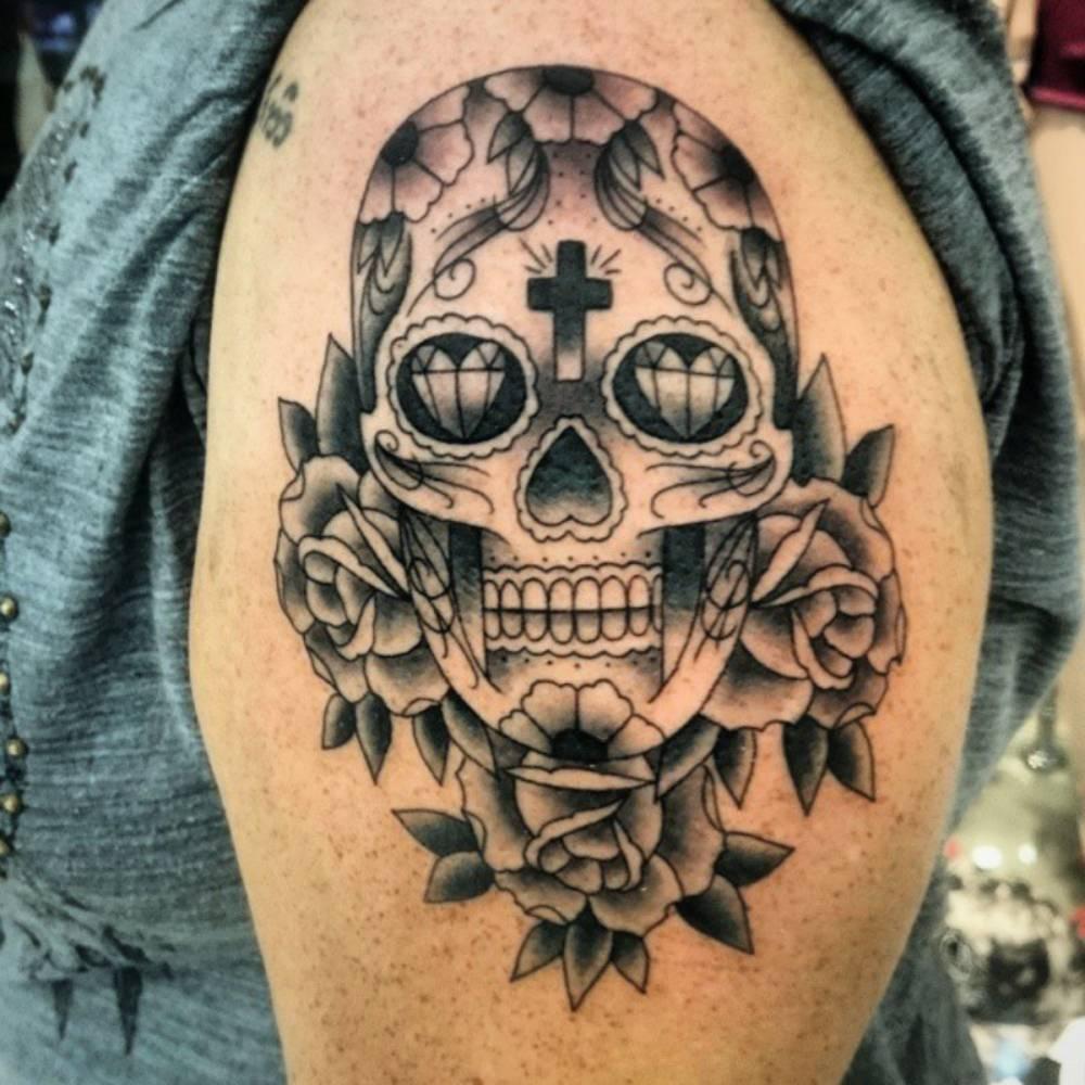 shoulder skull rose tattoo - 736×736