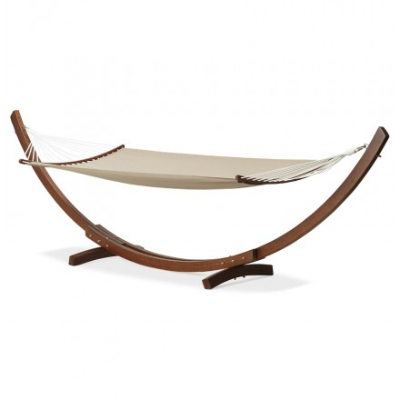Hammock JULES arched foot in wood and removable canvas  mole