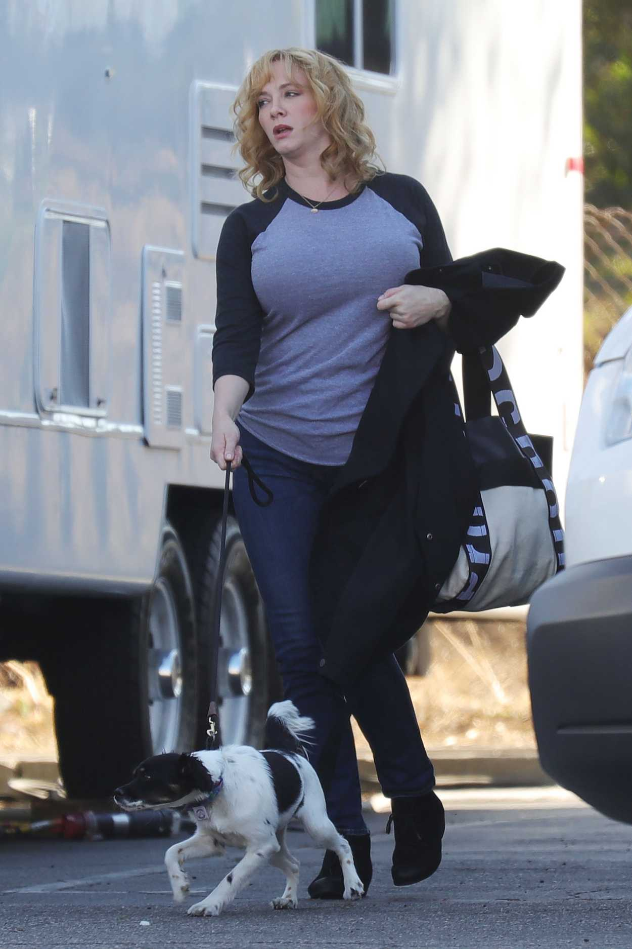 Christina Hendricks Walks Her Dog Out In Los Angeles 10 21