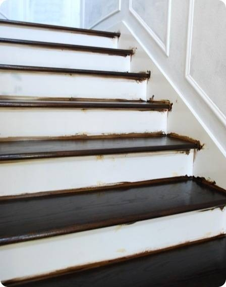 Finished Staircase Centsational Style   Staining Stair Treads And Painted Risers   Open Stair Basement   4 Thick   Walnut   Design   Commercial Business