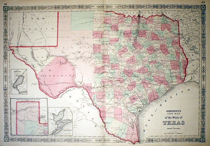 New Map of the State of Texas   c 1865   Johnson  M 13081     475 00     New Map of the State of Texas   c 1865