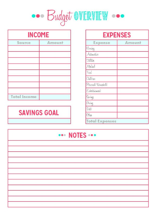 Printables Family Binder Free Budget