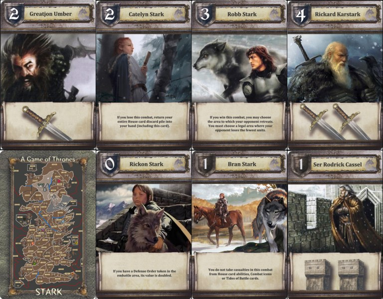 A 10 player variant  the map and house cards   A Game of Thrones     I have a gaming design for MOD A Feast for Crows expansion scenario of House  Stark s Objective cards  so I give Catelyn this text ability and included  two
