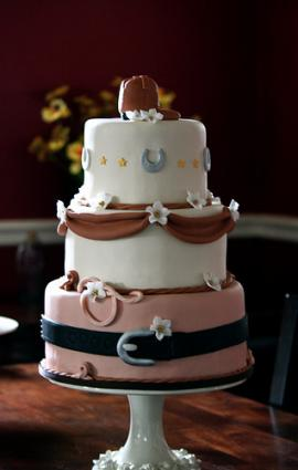 Country Western Style Wedding Cakes Western wedding cake with boot and lasso decorations