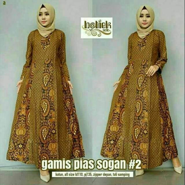 Model Gamis Batik Resleting Depan 2
