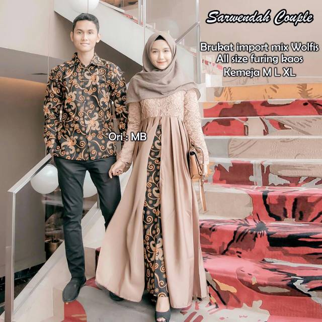 Model Gamis Batik Pesta Couple 18
