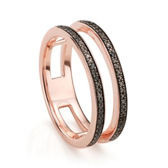 Skinny Double Band Ring in 18ct Rose Gold Vermeil on Sterling Silver     Rose Gold Vermeil Skinny Double Band Ring   Black Diamond   Monica Vinader