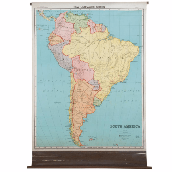 Antique Nystrom Pull Down Map of South America   Chairish Antique Nystrom Pull Down Map of South America For Sale