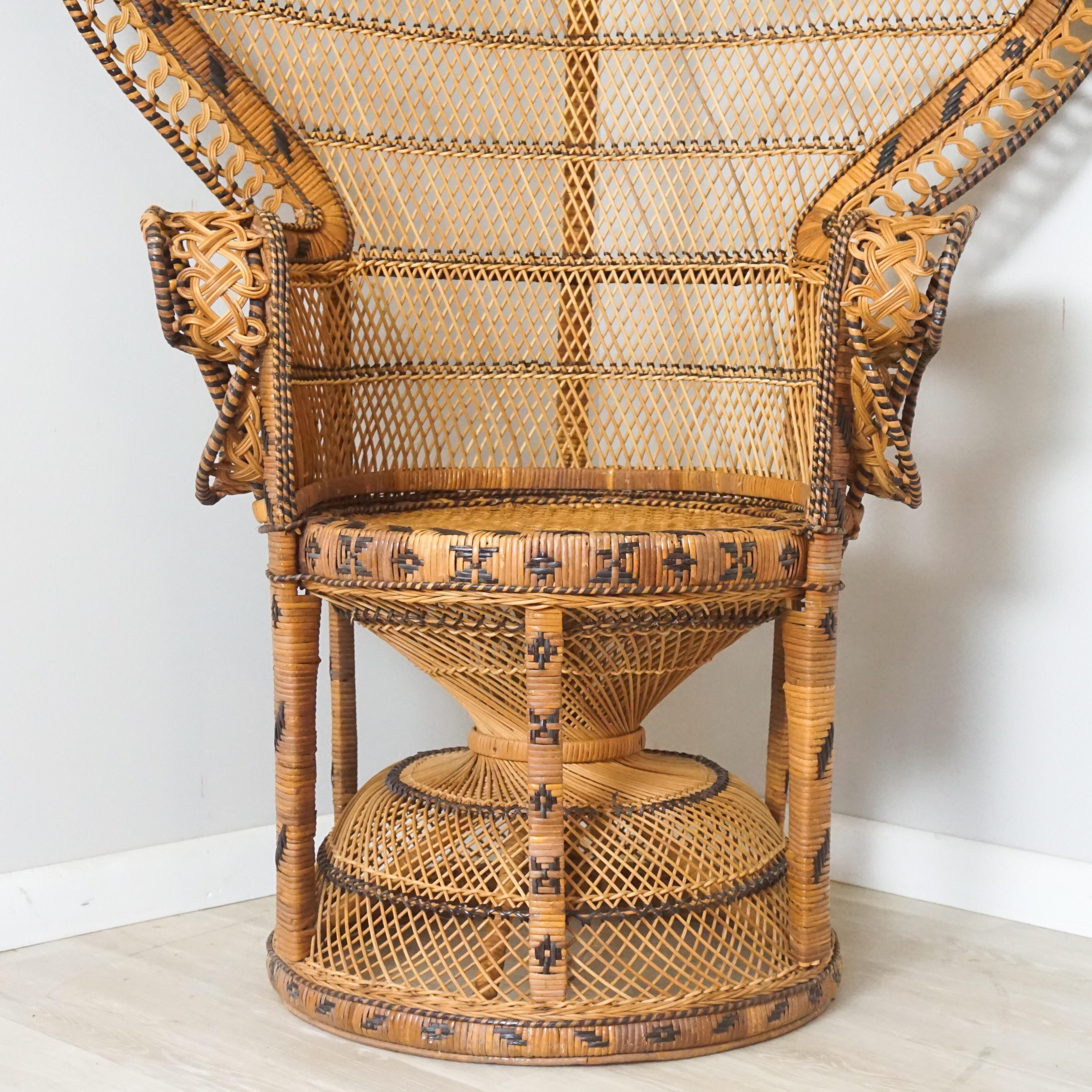 Vintage Large Rattan Emmanuel Style Peacock Chair   Chairish 1970s Vintage Large Rattan Emmanuel Style Peacock Chair For Sale   Image 5  of 11