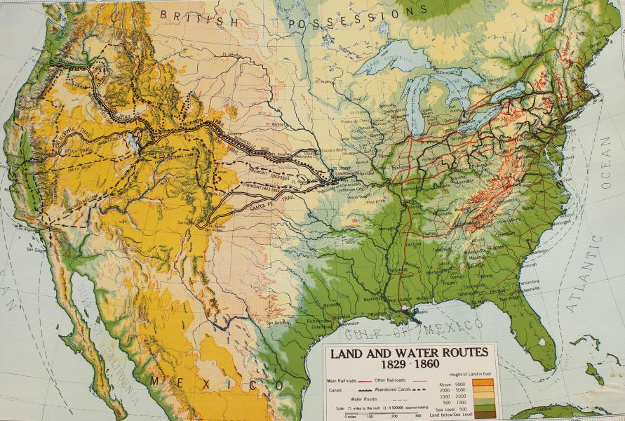Vintage Schoolhouse  Land and Water Routes 1829 1860  Map Vintage Schoolhouse  Land and Water Routes 1829 1860  Map   Image