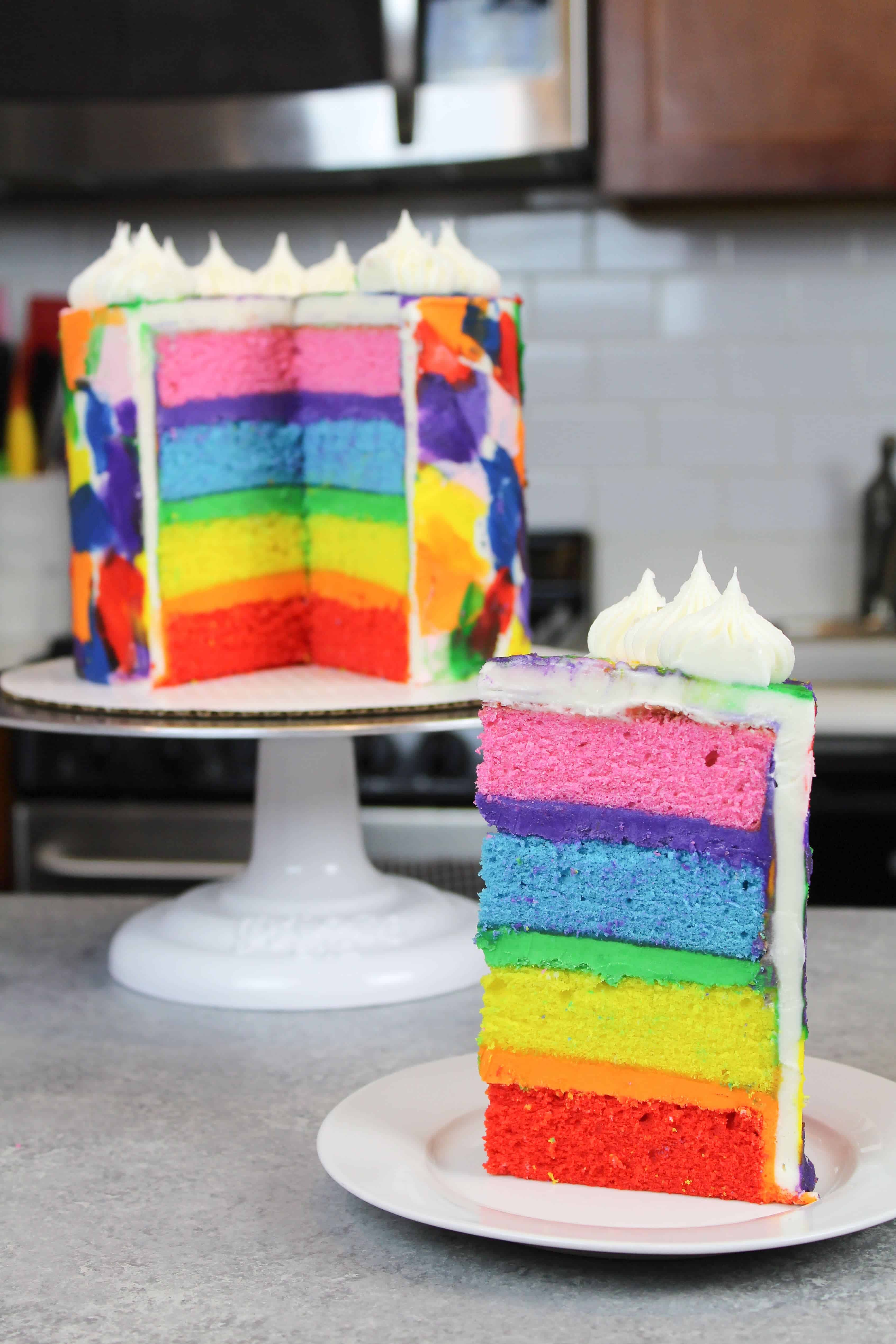 Rainbow Cake Recipe Made With 4 Cake Layers Chelsweets