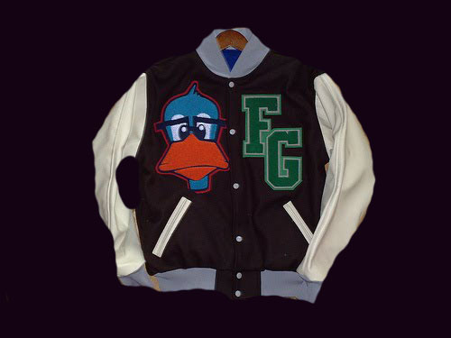Chi By Design     CHI BY DESIGN Signature Fashion Geek Duck Mascot  Men s waist length leather coat  Photo  courtesy of chicagofashionincubator com