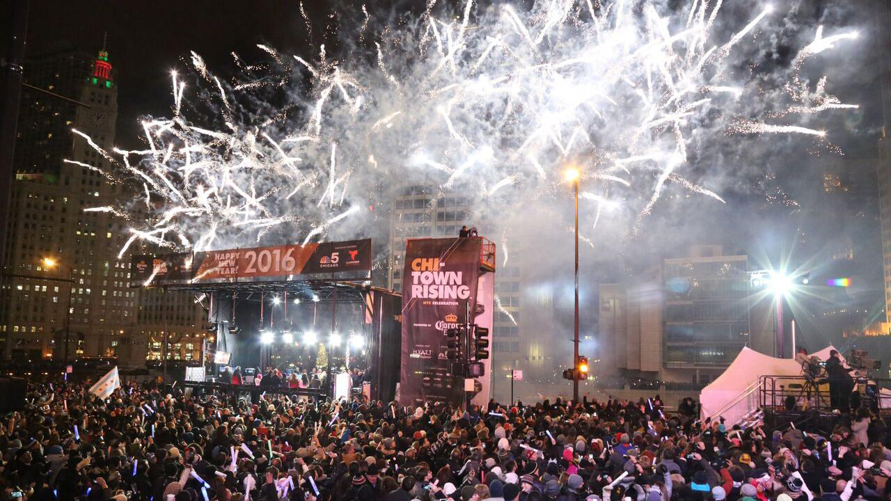 Chi Town Rising Announces Lineup  Hosts for 2016   Chicago Tonight     Fireworks light up the night at the inaugural Chi Town Rising event on New  Year s
