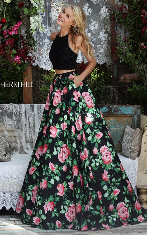 49ca5146eac Sherri Hill Black pink Print Prom Dress Chic Bcbg Dresses
