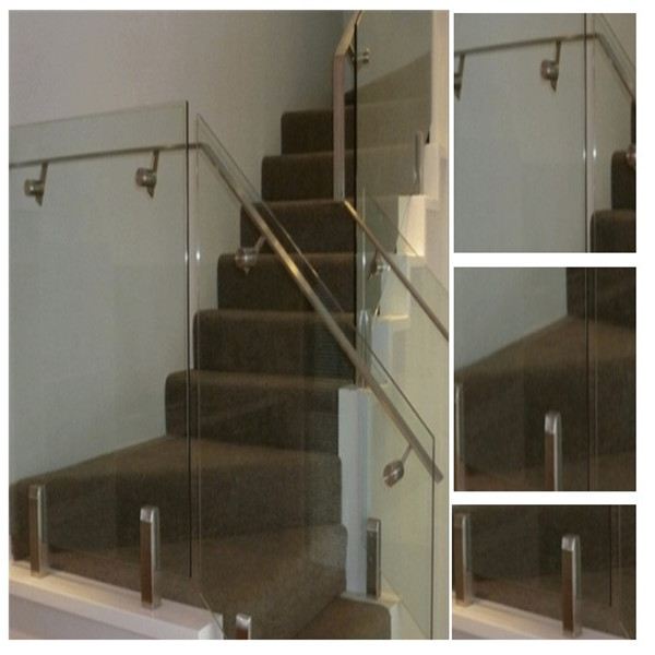 Glass Staircase Handrail With Stainless Steel Spigot Glass Railing | Glass Handrails For Stairs | Wood | Frameless | Outside | Standoff | Residential