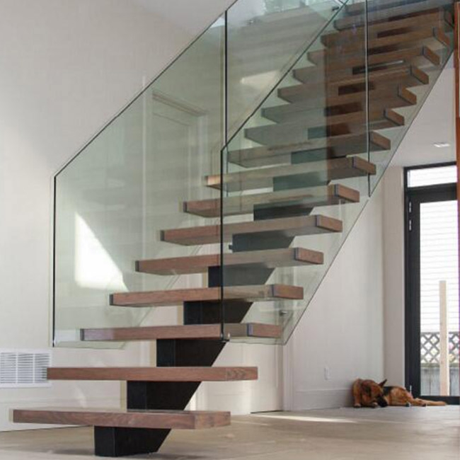 Modern Interior Double Sides Glass Railing Mono Beam | Stairs With Glass Sides
