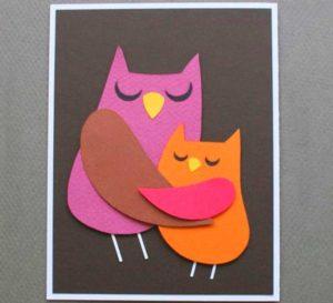 โปสการ์ดกับ appliques ของนกสองตัว