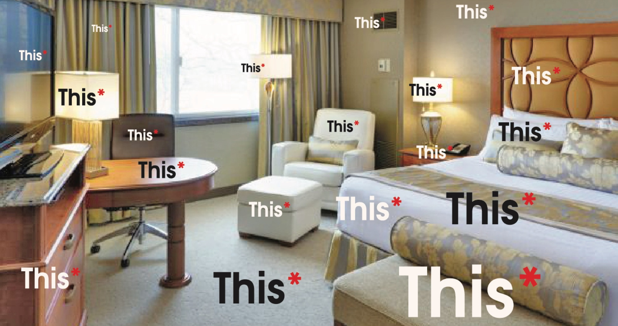 Home   Commercial Interior Decor A fully furnished hotel room with the word  this  superimposed over every  piece