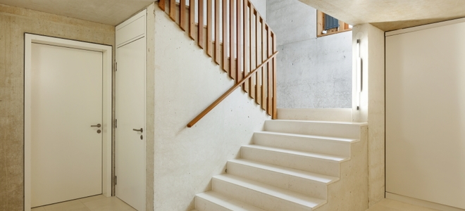 How To Install A Wood Railing On Concrete Steps Doityourself Com | Wood On Concrete Steps | Front Entry | Wood Deck | Clad | Timber Concrete | Above Ground Pool