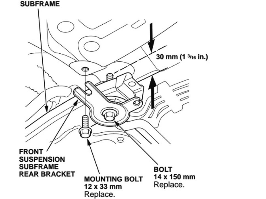 Loosen the rear subframe bolts to allow about 1 1 4 clearance