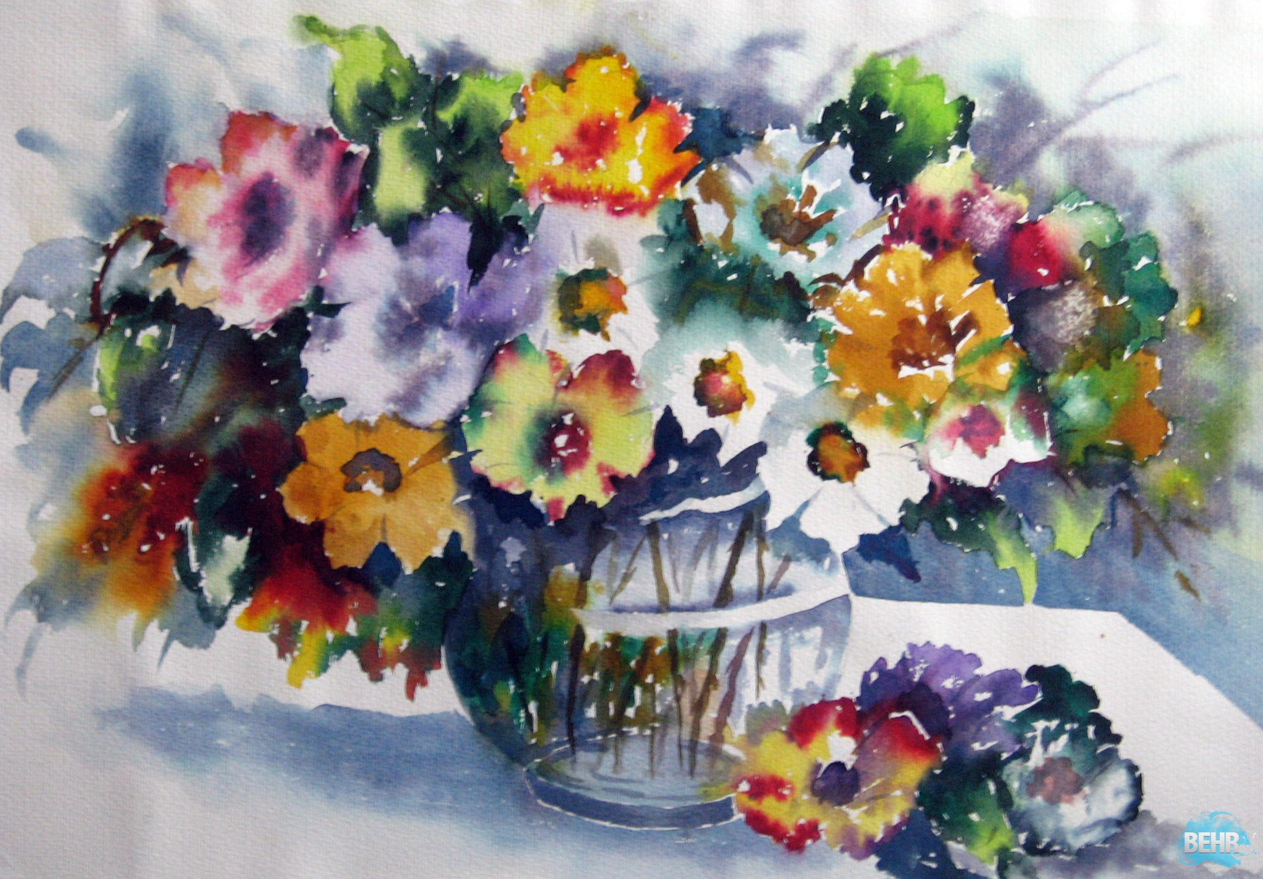 watercolor paintings of flowers - HD2490×1734