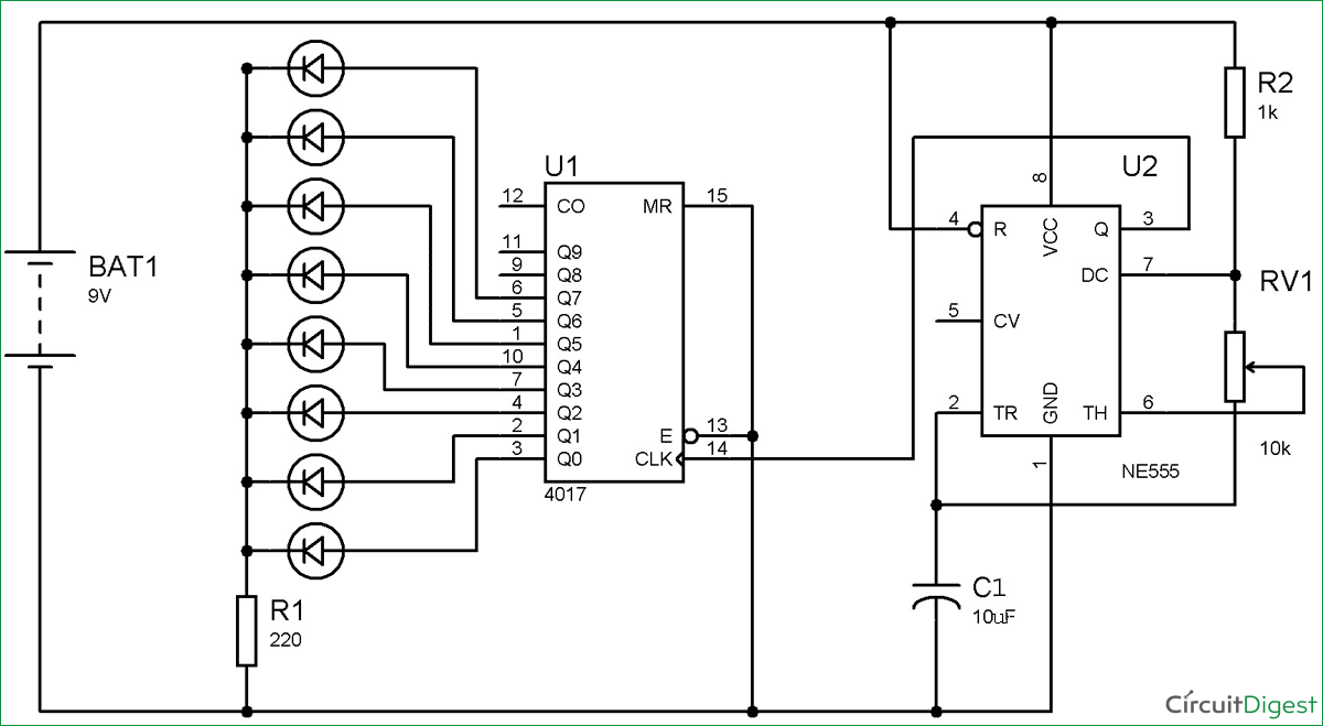 Circuit diagram of led roulette circuit using 555 timer ic