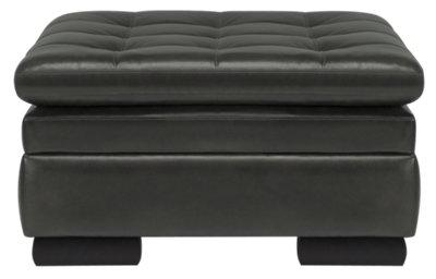 Ottoman Leather Storage Grey