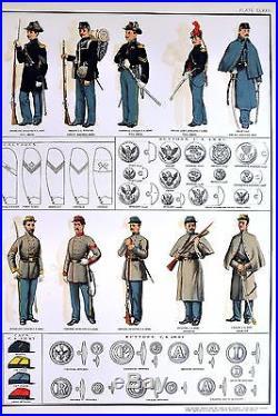 1891 Antique Print Civil War Uniforms Confederate Union