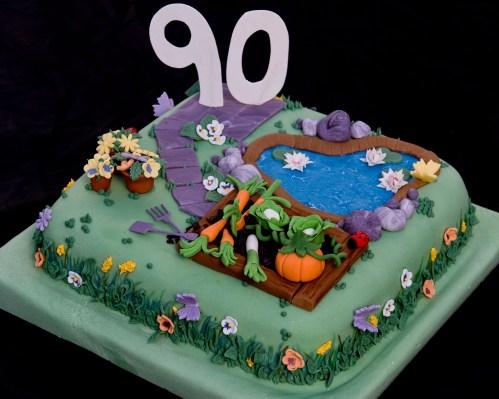 90th Birthday Cake Gardening Theme Little Bird Bakery