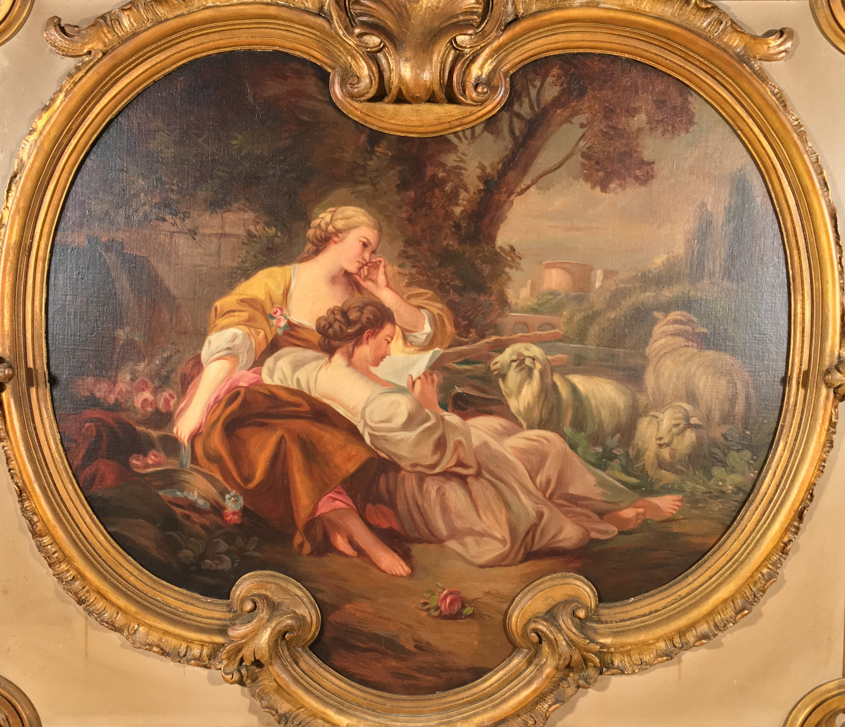 Pair Italian Rococo paintings   www ClaudiaCollections com     Pair Italian Rococo paintings
