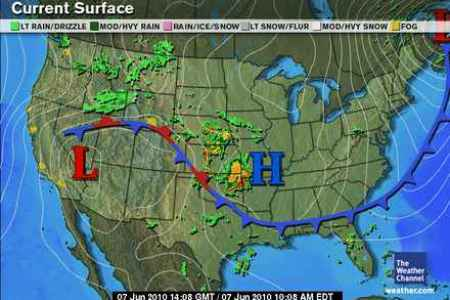 Fronts   North Carolina Climate Office Figure A  Fronts Located on a Surface Weather Map  Image from the Weather  Channel
