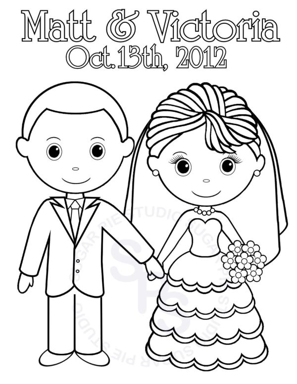 bride and groom coloring pages # 16