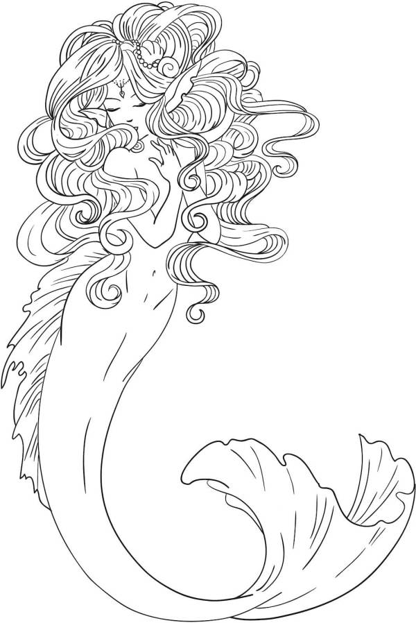 mermaid coloring pages for adults # 17