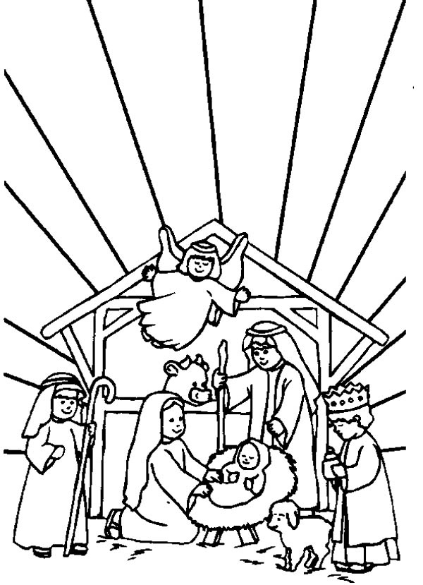 Angel Coloring Page Nativity Set