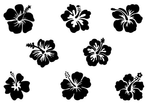 Black Flower White Art Clip And Hawaiian Border