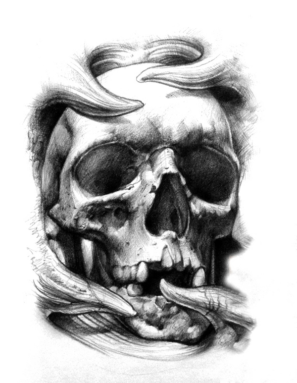 Awesome Ripped Skin Skull Clip Art Library