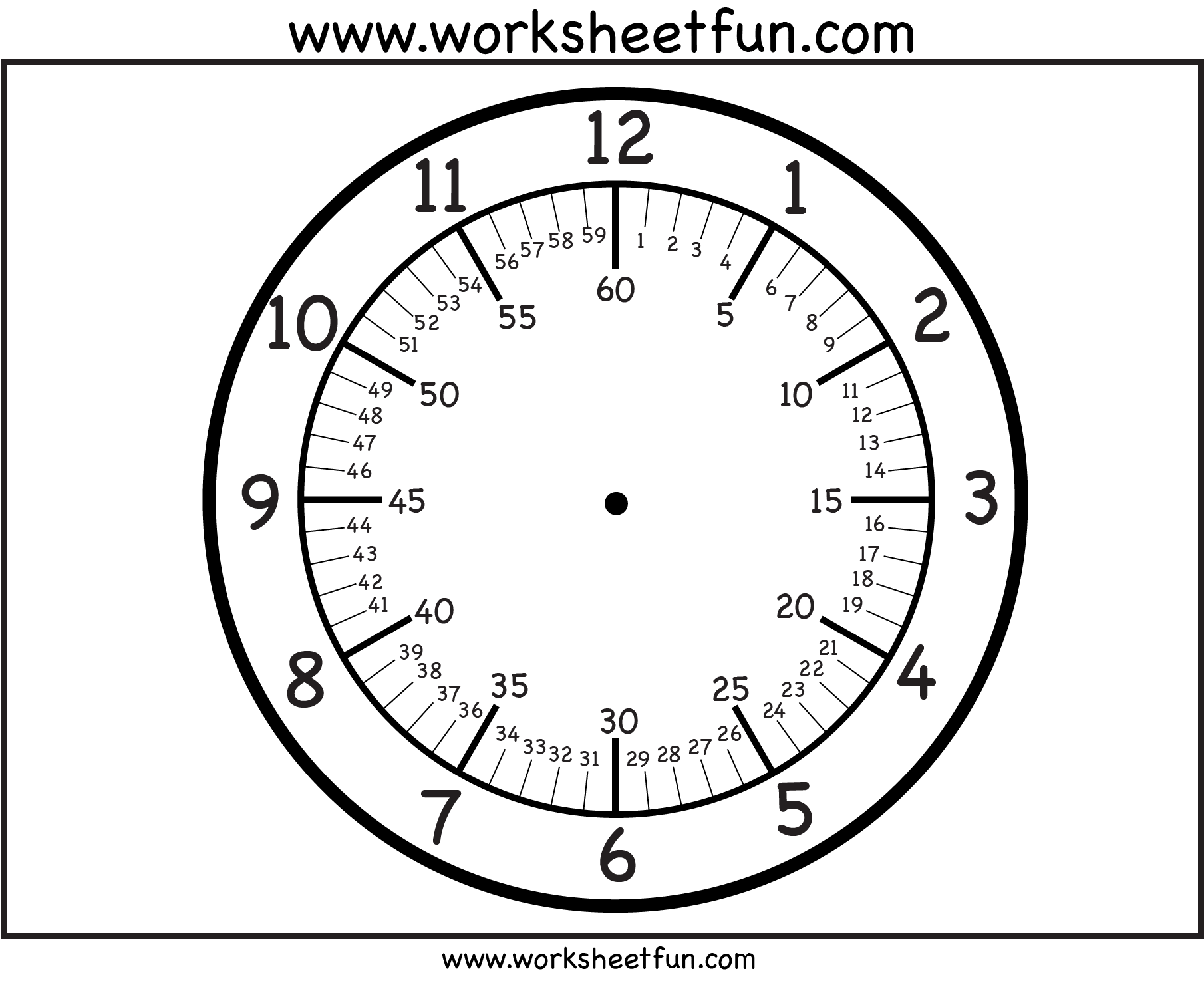 Minutes Clock Face Printable