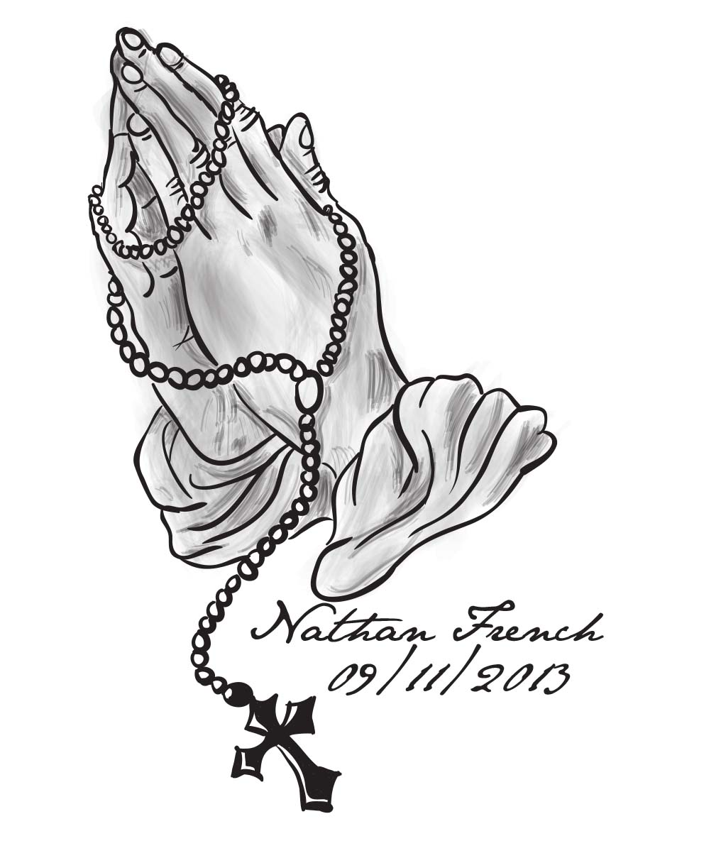 And Rosary Beads Cross Praying Coloring Hands Pages