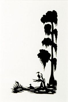 Black white clipart cypress tree