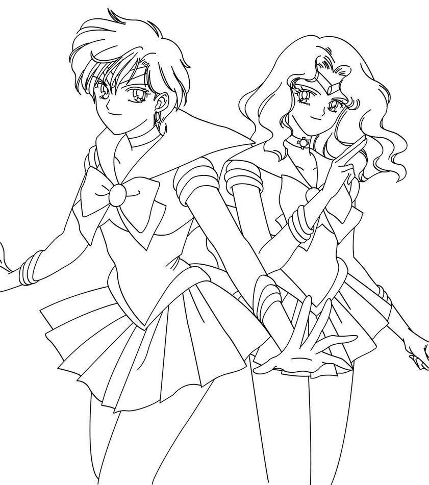 Sailor Uranus Coloring Pages Neptune And Uranus Blank By Sailor