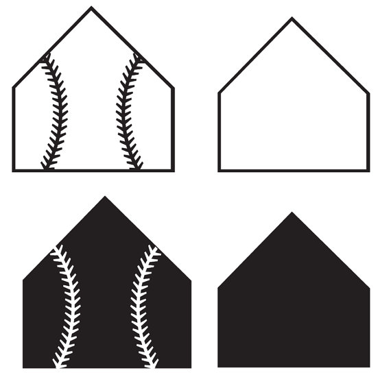 Home And Clip And White Plate Laces Art Baseball Black