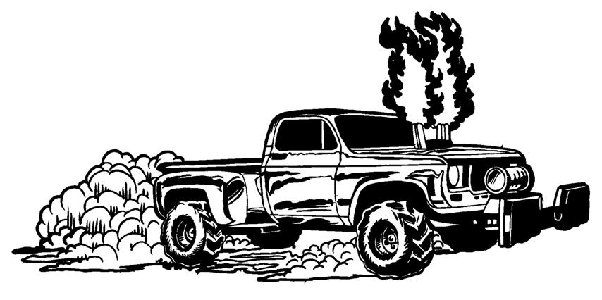 Truck Smoke Stacks Silhouette