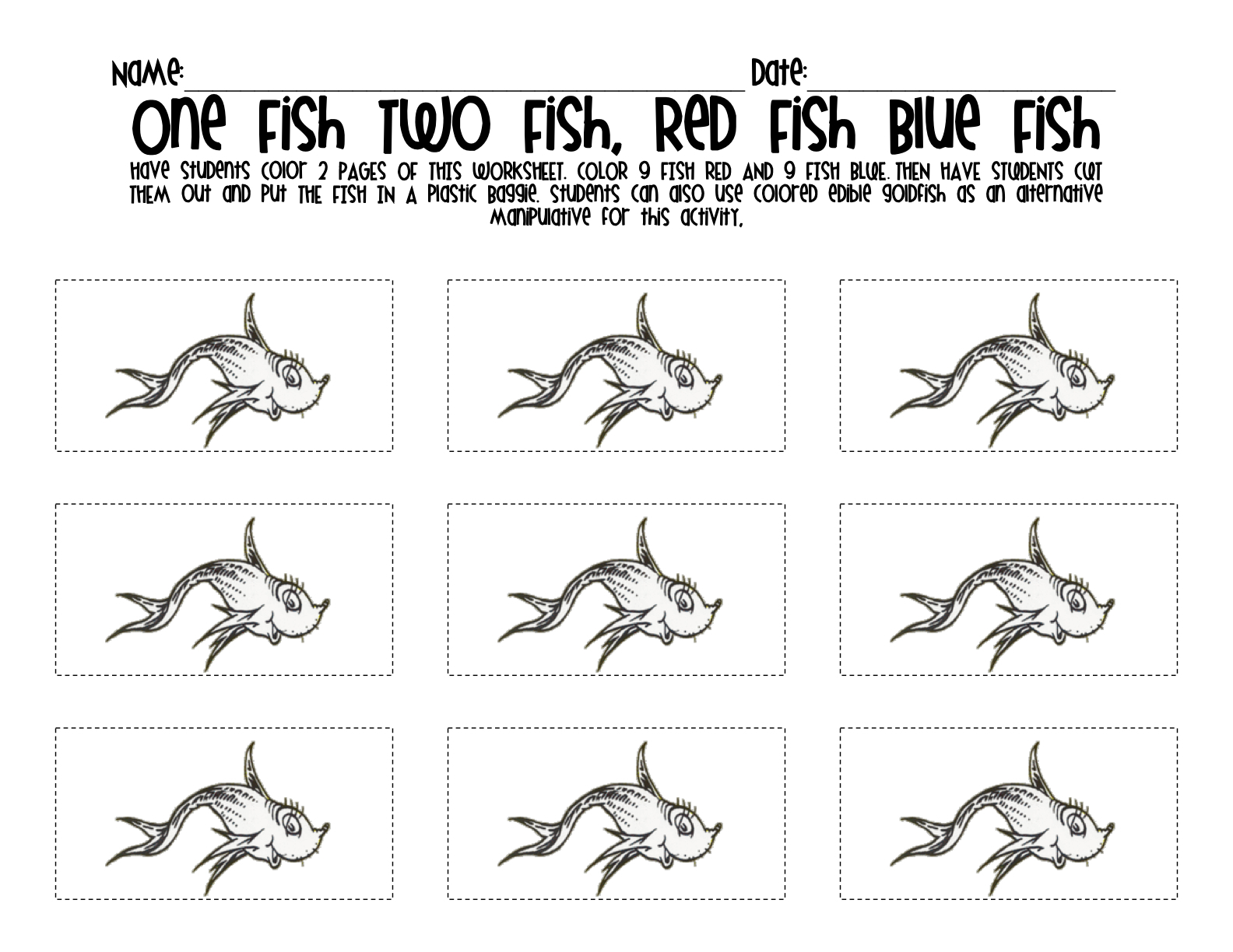 Download One Fish Two Fish Red Fish Blue Fish Coloring Page Clip